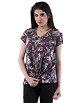 AARR Printed Short Sleeve V - Neck Poly Cotton Shirt
