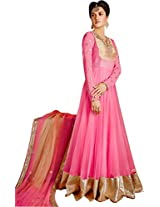 Long Anarkali Embroidered Suit With Dupatta