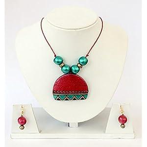 Anikalan Designs Red Moon Pendant Terracotta Necklace Set