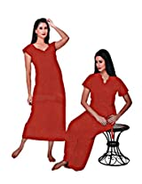 Indiatrendzs Women's Sexy Honeymoon Evening wear Red 2pc Nighty