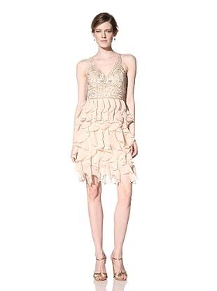 Sue Wong Women's V-Neck Dress with Ruffle Skirt (Blush)