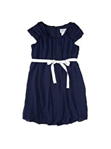 Blush by Us Angels Girl's Love Notes Shirred Sleeve Bubble Dress (Marine)