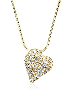 Philippa Collar Golg Strass Heart metal bañado en oro 24 ct