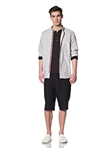 French Connection Men's Liddell Long Sleeve Button Front Shirt (Smog)