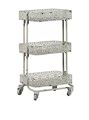 Linon Home Décor Metal 3-Tier Cart, Cream