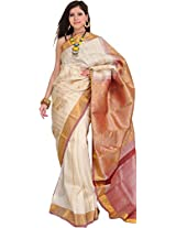 Exotic India Ivory Kanjivaram Saree with Woven Flowers and Golden Th - Off-White