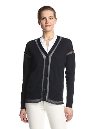 SVEE Women's Sheer Panel Cardigan (Navy/Navy)