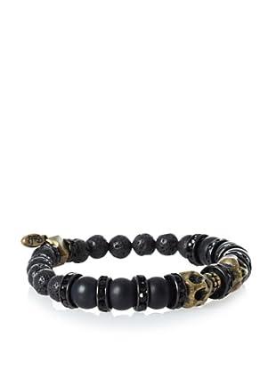 Ettika Men's Twin Skull Lava Stone Bracelet