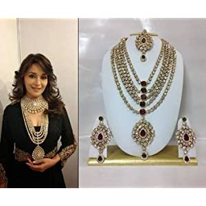 Bridal sets - Famous Bollywood Replica Jewelry Set in Maroon and Green with Pearls