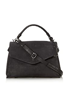 Gryson Women's Cybelle Solid Belted Large Top Handle Messenger (Black)