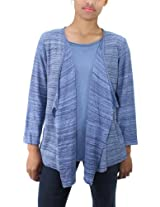 Alfred Dunner Womens Blue Pop Culture 3/4-Sleeve 2 in 1 Cardigan Sweater (S)