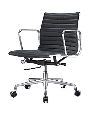 Meelano M341 Office Chair in Black Italian Leather