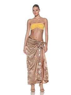 Chris Benz Women's Signature Floral Metallic Sarong (Brown/Gold)