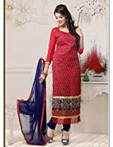 Saara Red And Navy Blue Embroidered Dress Material - 142D3039