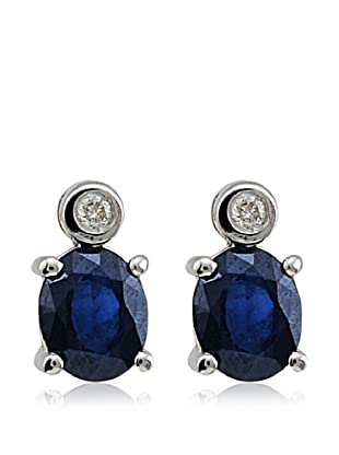 Divas Diamond Pendientes Diamond Sapphire plata de ley 925 milésimas