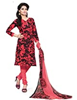 BanoRani Womens Black & Red Color Casual & Printed PolyCotton Ladies Unstitched Salwar Suit Dress Material with Printed Dupatta