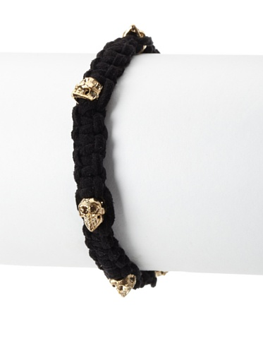 Shashi Skull Suede Adjustable Bracelet, Yellow Gold/Black