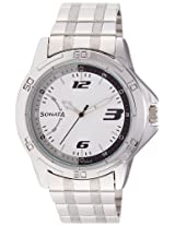 Sonata Analog White Dial Men's Watch - 77001SM02A