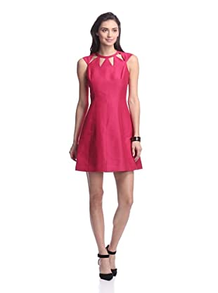 HALSTON HERITAGE Women's Capsleeve Dress with Cut-Out Neckline (Raspberry)