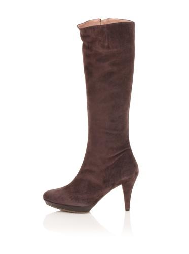 Pura Lopez Women's Suede Platform Boot (Brown)