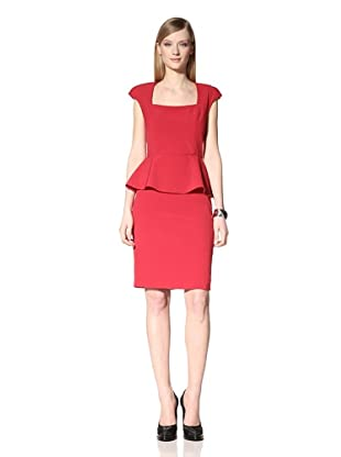 Single Women's Fitted Peplum Dress (Red)