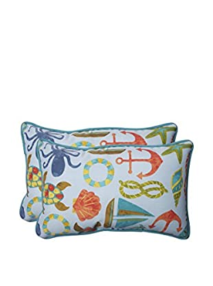 Pillow Perfect Set of 2 Indoor/Outdoor Seapoint Summer Lumbar Pillows, Blue