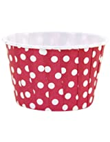 Dress My Cupcake 24-Pack Party Nut Cups, Polka Dot, Red