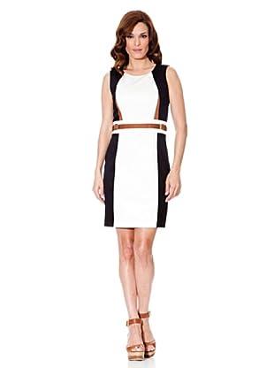 Cortefiel Kleid Gerade (Weiß/Marine)