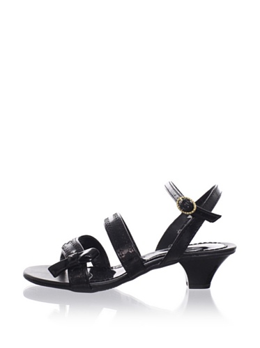 Pampili Kid's Sequined Kitten Heel Sandal (Black)