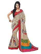 Beige Color Art Bhagalpur Silk Saree with Blouse 11306