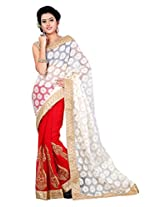 Surat Tex Red & White Semi Chiffon & Brasso Indian Wear Printed Sarees With Unstitched Blouse