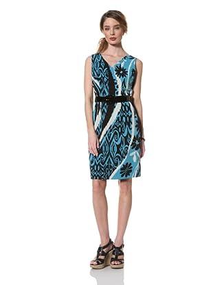 Chetta B Women's Sleeveless Print Dress with Belt (Turquoise)
