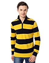 Allen Solly Leisure Sport Black And Yellow Striped Pullover