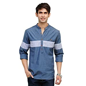 Yepme Ayden Grey Chambray Kurta Shirt