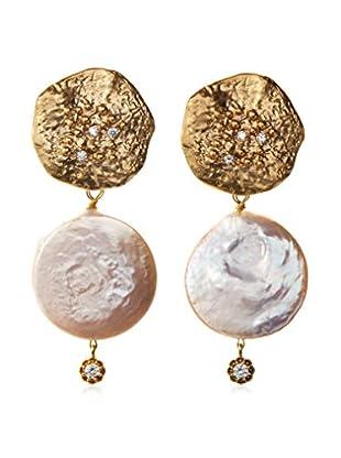 Indulgems Pearl & CZ Coin Earrings