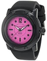Glam Rock Women's GR25044 Miami Beach Bright Fuschia Dial Black Silicone Watch