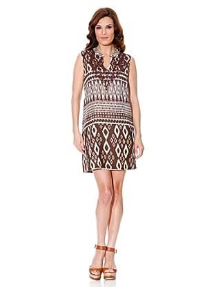Cortefiel Kleid Print (Braun/Weiß)
