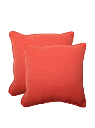 Pillow Perfect Set of 2 Outdoor Forsyth Coral Throw Pillows, Orange