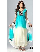 Buy Latest Sky And White Stylish Long Anarkali Suit By Khantil Ss2151-1575