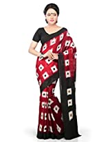 Utsav Fashion Women's Red and Black Pure Ikat Cotton Handloom Saree with Blouse