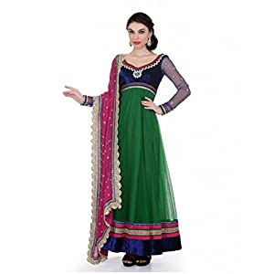 Green Georgette Anarkali with Embroidery work