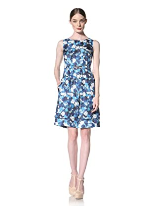 Peter Som Women's Sleeveless Rose Print Dress with Defined Waist