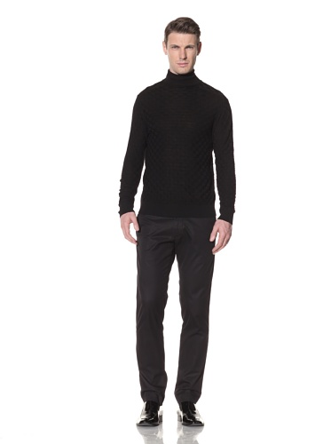 Halston Men's Wool Basket Weave Knit Turtleneck (Black)