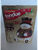 Candle Glow Fondue Holiday fun Snowman Chocolate Dessert fondue Set With 4 Forks