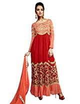 Inddus Women Red & Peach Georgette Unstitched Dress Material