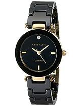 Anne Klein Women's AK/1464BKGB Diamond-Accented Black Ceramic Bracelet Watch