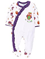 Snuggles Full Sleeve Sleepsuit Owl Print - White (3-6M)
