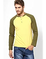 Yellow Contrast Reglan Sleeve Henely T-Shirt