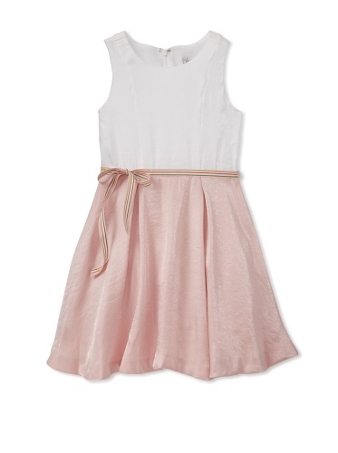 Blush by Us Angels Girl's Belted 2-Tone Dress (White/Pink)