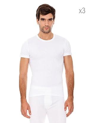 Abanderado Pack x 3 Camisetas Corta Fibra Invierno (Blanco)
